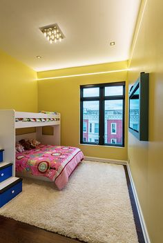 Reveal projects an indirect glow onto ceilings or floors to deliver cove or pathway lighting | Use in children's bedrooms for a fun yet sleek appearance | Pair with yellow walls and white woodwork for a cheery atmosphere during the winter months | Reveal - by Pure Lighting