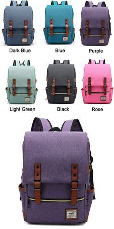 Vintage Travel Backpack Leisure Canvas With Leather Backpack&Schoolbag from bygoods.com .Which color do you like? #backpack #college #bag #rucksack #women #school #student #canvas