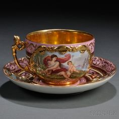Berlin Porcelain Oversized Cup and Saucer. Tea Cup Set, My Cup Of Tea, Tea Sets, Tea Cup Saucer, Antique Tea Cups, Vintage Cups, Vintage Tea, Teapots And Cups, Teacups
