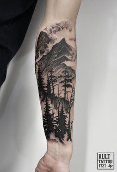 Image result for landscape sleeve tattoos