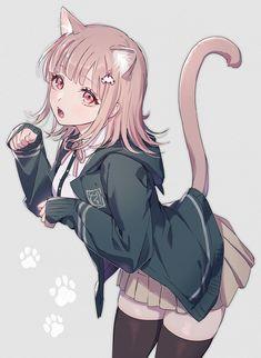 """いお on Twitter: """"😽… """" Nanami Chiaki, Spike Chunsoft, Boy Cat, Wolf Girl, Kagehina, Awesome Anime, Game Character, Neko, Anime Characters"""