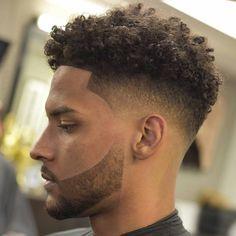 Fade with curly top and short beard- Fade Haircut Curly Hair, Curly Hair Cuts, Short Curly Hair, Curly Hair Styles, Afro Hair Men, Curly Afro, Mens Hair, Wavy Hair, Black Boys Haircuts