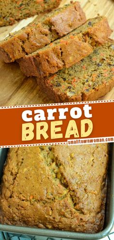 This easy to make quick bread recipe is the perfect breakfast idea or dessert recipe! Carrot bread has fresh grated carrots, shredded apple, chopped pecans, cinnamon, ginger and nutmeg. Impress family and friends with this recipe! Quick Bread Recipes, Veggie Recipes, Baking Recipes, Dessert Recipes, Scone Recipes, Desserts, Healthy Meals For Kids, Healthy Cooking, Carrot Cake Bread