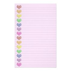 Rainbow hearts border optional lines stationery zazzlecom Zazzle Printable Lined Paper, Free Printable Stationery, 2018 Planner, Happy Planner, Writing Paper, Letter Writing, Fancy Notebooks, Page Frames, Heart Border