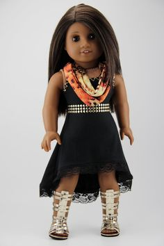 "American Girl doll clothes - High low strappy dress with FREE infinity scarf (fits 18"" doll) (433blk) by DolliciousClothes on Etsy https://www.etsy.com/listing/226843426/american-girl-doll-clothes-high-low"