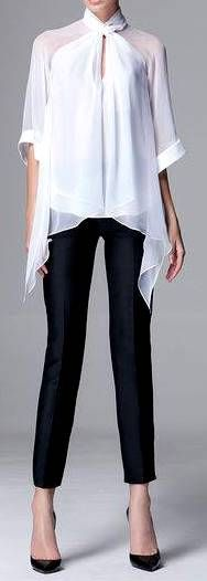 Zuhair Murad RTW Pre-FW 2014-15 | white silk flowy blouse and black cropped pants
