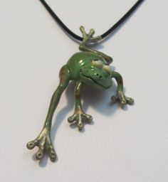 Whimsical Bronze Frog Necklace/Magnet Pin by LinkWachlerDesigns, $225.00