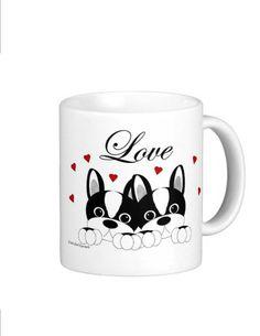 Valentine Dog Couple Mugs  Boston Terriers German by CCGirlsCorner
