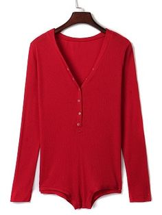 Shop Burgundy V-neck Buttoned Front Cable Knit Bodysuit from choies.com .Free shipping Worldwide.$8.9