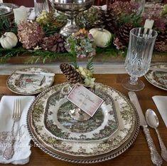 2013thanksgiving1.jpg 640×634 pixels Thanksgiving Table Settings, Thanksgiving Tablescapes, Christmas Table Settings, Friendly Village Dishes, Christmas Dishes, Christmas China, Beautiful Table Settings, Fall Table, Johnson Brothers