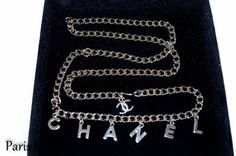"""Authentic Chanel Silver LOGO Charms Chain Belt 35"""". Get the lowest price on Authentic Chanel Silver LOGO Charms Chain Belt 35"""" and other fabulous designer clothing and accessories! Shop Tradesy now"""