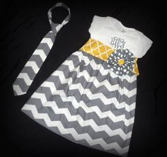 Spring Summer Matching Brother Sister Set Gray and Mustard Yellow Chevron Tshirt Dress and Tie Sizes NB-6