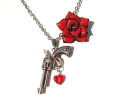Gun Necklace Femme Fatale Guns and Roses by FragileEliteDesign, £18.00