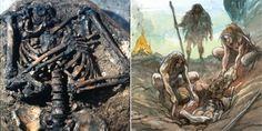Kebara 2 - Squelette et reconstitution de la scène d'enterrement © Emmanuel…