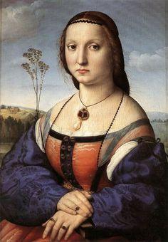 RAFFAELLO Sanzio Portrait of Maddalena Doni 1506 Oil on panel, 63 x 45 cm Galleria Palatina (Palazzo Pitti), Florence