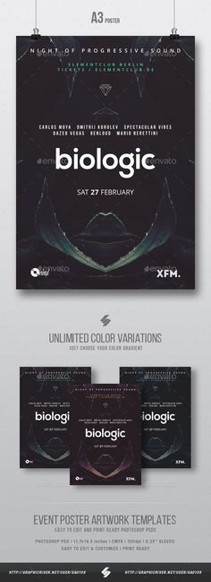 Biologic - Tech-house Minimal Party Flyer / Poster Template A3