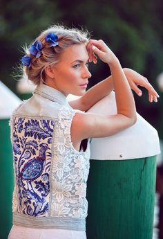 Light blue Denim vest Embellished jacket White lace Russian Style Gzhel peacock print Blue Bird Beaded vest XS S M woman jean vest handmade