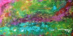 Original Large Abstract MIXED MEDIA TEXTURED painting    AQUAMARINE  by Karen Fields    48 X 24 X 1.5    Gorgeous Expressionistic Original