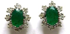 Natural Emerald Diamond .22ctw Halo Earrings 14k White Gold MSRP $720 GV83317 #NA #Stud