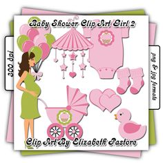 Baby shower clip art girl collection includes 8 images. A pregnant mommy, a set of balloons, a baby mobile, a stroller, a onsie, a pair of socks, a double heart, and a rubber ducky. This collection was created with shades of light pink and bright green with a cupcake to decorate the baby items, making it great for your little girl.