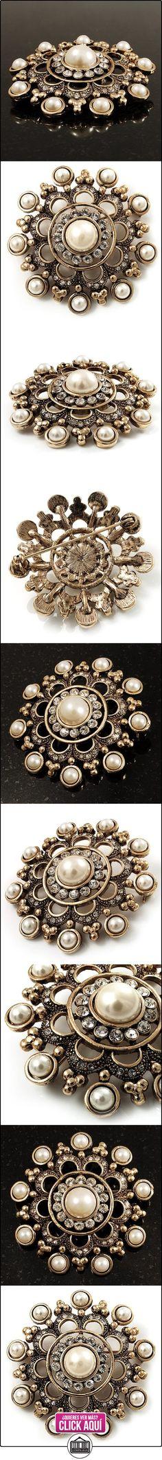 Broche tipo ramillete de filigrana con imitación de perla en oro antiguo  ✿ Joyas para mujer - Las mejores ofertas ✿ ▬► Ver oferta: http://comprar.io/goto/B004BVU11W