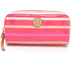 Tory Burch Striped EW Cosmetic Case (1.350 UYU) ❤ liked on Polyvore featuring beauty products, beauty accessories, bags & cases, bags, poppy red multi, cosmetic bags, travel toiletry case, tory burch makeup bag, dop kit and tory burch