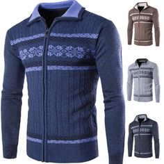 Mens Zip-Up Sweater Coat Baseball Jacket Cardigan Sweatshirt Warm Outwear