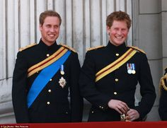 Inspiration: Prince William and Prince Harry in 2008 in exactly the same uniforms as appear in their painted portrait hanging in The National Portrait Gallery, London.