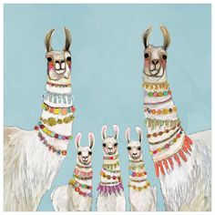 Necklaces - Neutral by Eli Halpin This darling family of llamas is ready to party! The colorful beads accessorizing their towering necks perfectly pop against their soft cream wool. Shop this and more festive animal art from the talented Eli Halpin. Canvas Wall Art, Canvas Prints, Art Prints, Kids Canvas, Lama Animal, Llama Arts, Llama Llama, Llamas, Blue Walls