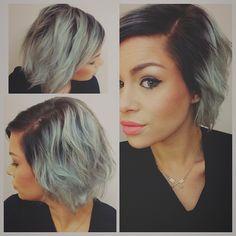 Hair color silver dark roots haircut grey grey hair color melt ombré