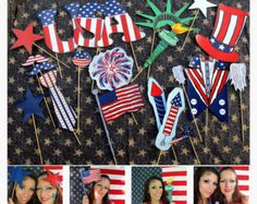 21 patriotic USA photo booth props - perfect for your American party, of July celebration, memorial day weekend or Citizenship party Drunk History, 4th Of July Celebration, 4th Of July Party, July 4th, Photos Booth, Photo Booth Props, American Themed Party, Fourth Of July Crafts For Kids, 4th Of July Photos