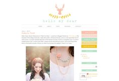 "Blogger Template Premade Blog Theme Design - ""Hello My Dear"" Instant Digital Download, Yellow Pink Deer Flowers"