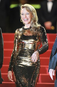 Kylie Minogue sparkled in this glitzy dress for the Cannes screening of Holy Motors.