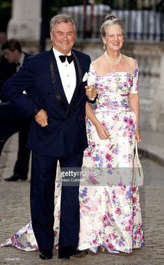 Queen Margrethe Ii And Prince Henrik Of Denmark Attend A Gala At Bridgewater House Prior To The Wedding Of Princess Alexia Of Greece And Carlos Morales Quintana. (Photo by Mark Cuthbert/UK Press via Getty Images) Denmark Royal Family, Danish Royal Family, Royal Families Of Europe, Prince Frederik Of Denmark, Princess Marie Of Denmark, Queen Margrethe Ii, Danish Royalty, Queen Dress, Crown Princess Mary