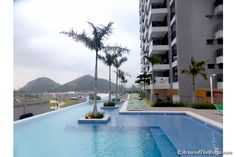 Olympic Village pool still looks refreshing on an overcast afternoon (ATR)