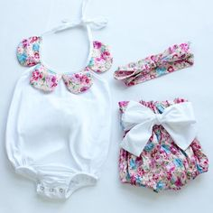 Vintage Baby Romper with Matching Headband