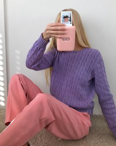 Vintage Grunge, Fujifilm Instax, Pastel Colors, My Wardrobe, Purple, Pink, That Look, Turtle Neck, Sweaters