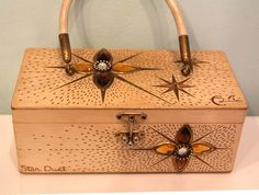 $65 Enid Collins Stardust Purse Box Bag 1960s Vintage by themodpod