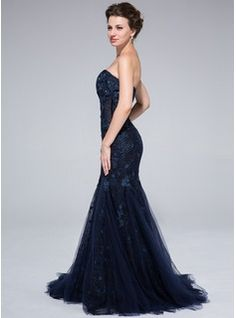 Trumpet/Mermaid Sweetheart Sweep Train Tulle Lace Evening Dress With Beading Flower(s) (017025320) - JJsHouse