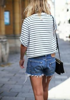 breton stripe tee + denim shorts