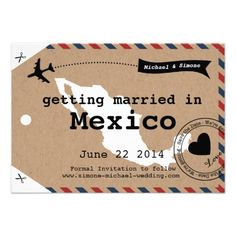 Mexico luggage tag save the dates from Zazzle.