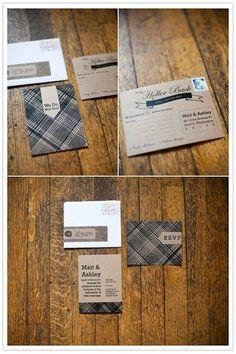 tartan and kraft monotone invitations