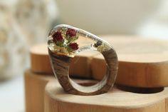 ring rose red ruby ring wedding ring feminine ring wood wooden ring artistic…