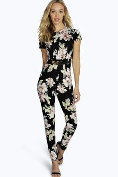 Claire Capped Sleeve Floral Belted Jumpsuit at boohoo.com