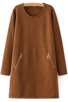Zipper Pocket Long Sleeve Sweater Dress