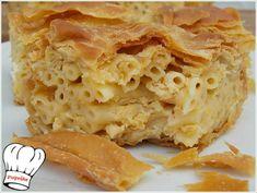 ΜΑΚΑΡΟΝΟΠΙΤΑ ΑΦΡΑΤΗ ΜΕ ΧΕΙΡΟΠΟΙΗΤΟ ΦΥΛΛΟ ΚΑΙ ΤΡΙΑ ΤΥΡΙΑ!!! - Νόστιμες συνταγές της Γωγώς! Greek Recipes, My Recipes, Apple Pie, Lasagna, Pizza, Ethnic Recipes, Desserts, Food, Apple Cobbler