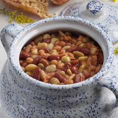 Picnic Bean Casserole ~ Smoked bacon adds zest to this bean bake, and the color of the lima beans brightens up the mixture!