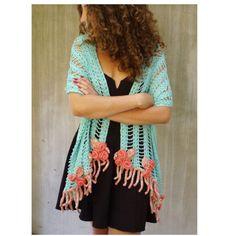 Crochet long boho turquoise floral scarf wedding festival