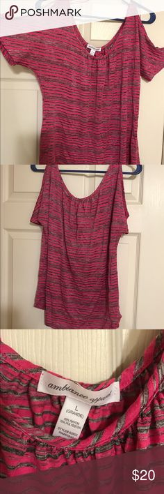 Women's shirt size L Women's shirt size L pink & gray stripes with shoulders holes. The shirt comes up kind of short. It came up right to the top of my pants line so if I raised my arms it came up shorter, so you have to wear a cami under it.   *******MAKE ME AN OFFER!!!****** Ambiance Apparel Tops Blouses