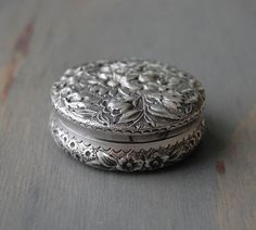 Antique Victorian Gorham Sterling Silver Floral Repousse Vanity Box - Pill Box 1887